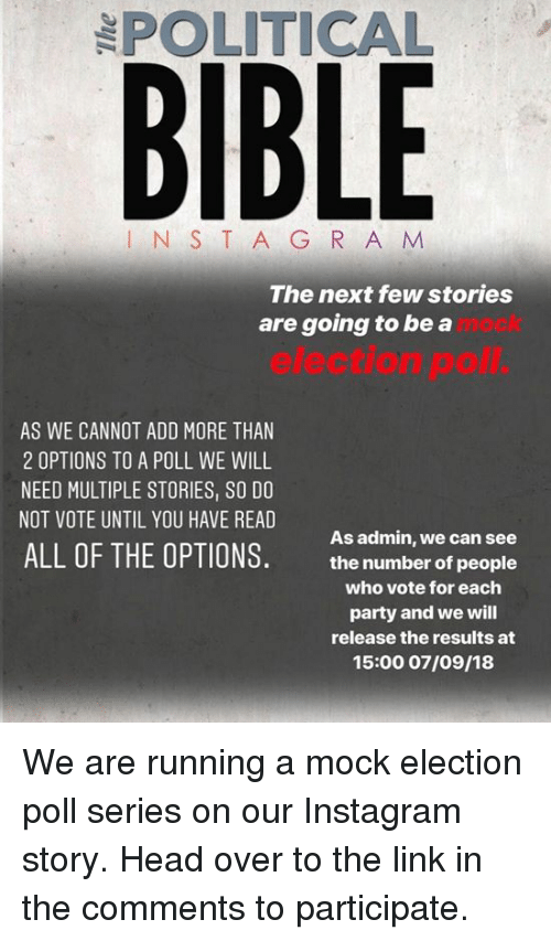 POLITICAL BIBLE N S T a G R a M the Next Few Stories Are