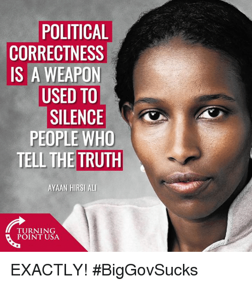 Memes, Political Correctness, and Silence: POLITICAL  CORRECTNESS  IS A WEAPON  USED TO  SILENCE  PEOPLE WHO  TELL THE TRUTH  AYAAN HIRSI ALL  TURNING  POINT USA EXACTLY! #BigGovSucks