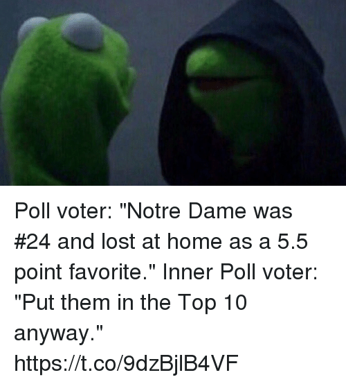 "Sports, Lost, and Home: Poll voter: ""Notre Dame was #24 and lost at home as a 5.5 point favorite.""  Inner Poll voter: ""Put them in the Top 10 anyway."" https://t.co/9dzBjlB4VF"