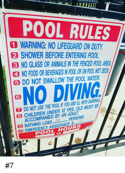 d48321dd776 POOL RULES 1 WARNING NO LIFEGUARD ON DUTY 2 SHOWER BEFORE ENTERING ...