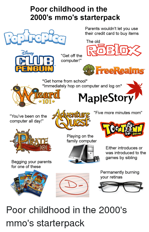 Poor Childhood in the 2000's Mmo's Starterpack Parents Wouldn't Let