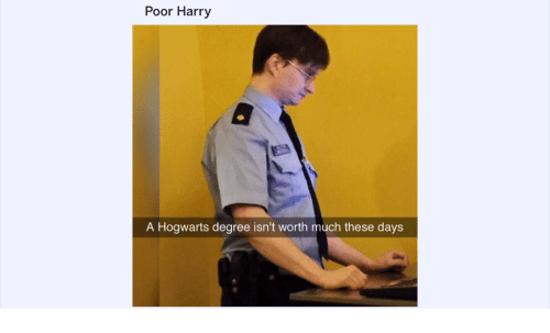 Hogwarts, Harry, and Degree: Poor Harry  A Hogwarts degree isn't worth much these days