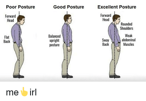 poor posture forward head flat back good posture balanced