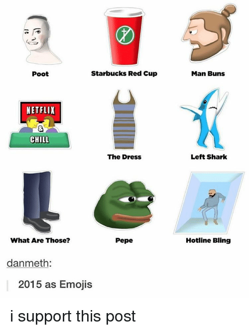 Bling, Left Shark, and The Dress: Poot  Starbucks Red Cup  NETFLIX  CHILL  The Dress  Pepe  What Are Those?  danmeth  2015 as Emojis  Man Buns  Left Shark  Hotline Bling i support this post