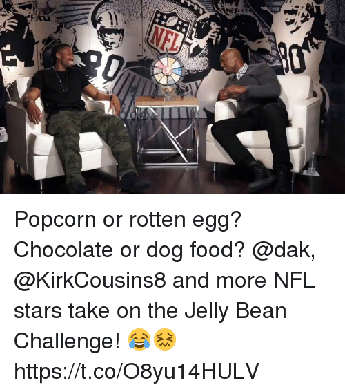 Food, Memes, and Nfl: Popcorn or rotten egg? Chocolate or dog food?  @dak, @KirkCousins8 and more NFL stars take on the Jelly Bean Challenge! 😂😖 https://t.co/O8yu14HULV