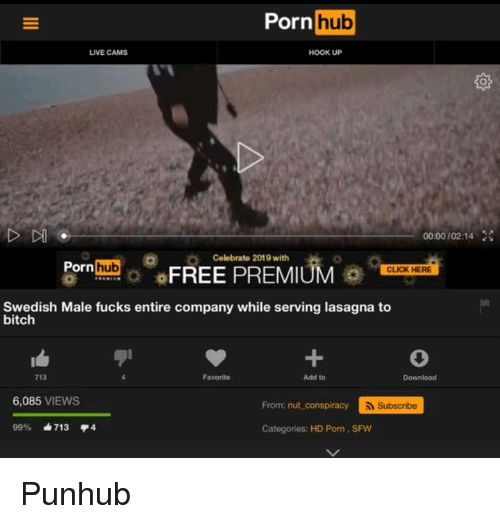 Bitch, Click, and Porn Hub: Porn  hub  LIVE CAMS  HoOK UP  00:00/02:14  Celebrate 2019 with  PornhFREE PREMIUM o  CLICK HERE  Swedish Male fucks entire company while serving lasagna to  bitch  1  713  Favorite  Add to  6,085 VIEWS  From: nut conspiracy  Subscribe  9996 713 4  Categories: HD Porn, SFW