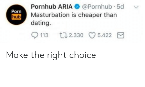 Dating, Pornhub, and Porn: Pornhub ARIA  Masturbation is cheaper than  dating.  @Pornhub. 5d  Porn  ub  113 2.330 5.422E Make the right choice