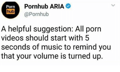 Music, Porn Hub, and Pornhub: Pornhub ARIA  Porn  hub  @Pornhub  A helpful suggestion: All porn  videos should start with 5  seconds of music to remind you  that your volume is turned up.