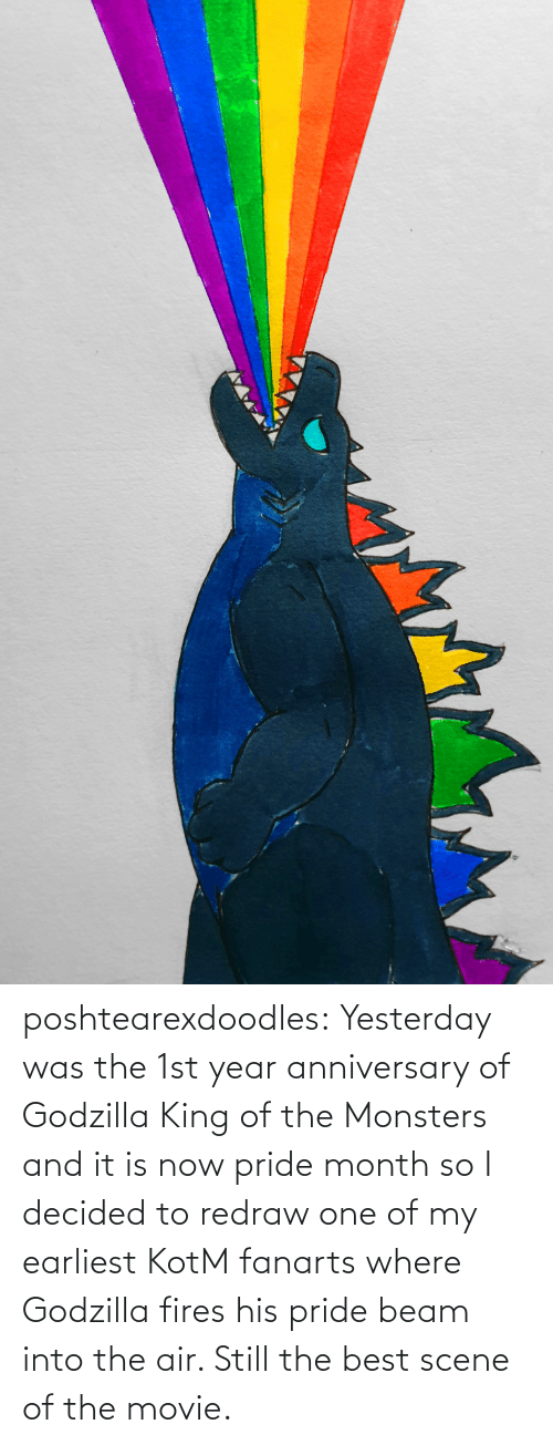 Godzilla, Tumblr, and Best: poshtearexdoodles:  Yesterday was the 1st year anniversary of Godzilla King of the Monsters and it is now pride month so I decided to redraw one of my earliest KotM fanarts where Godzilla fires his pride beam into the air. Still the best scene of the movie.