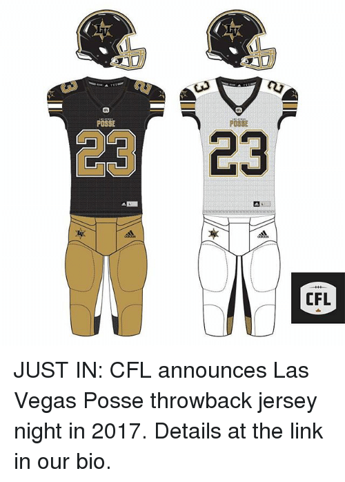 4bab3689b POSSE 23 CFL JUST IN CFL Announces Las Vegas Posse Throwback Jersey ...