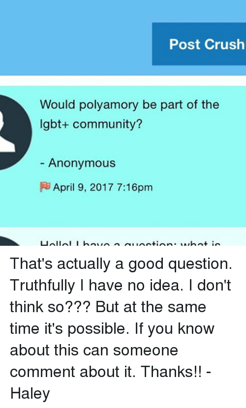 Post Crush Would Polyamory Be Part of the Lgbt Community