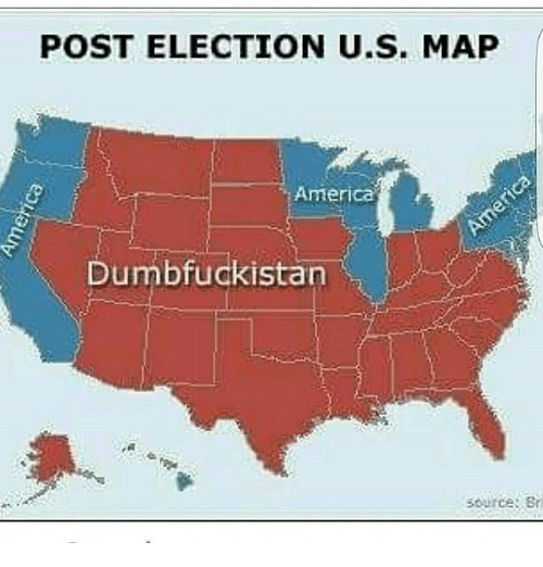 Post Election Us Map America Dumbfuckistan Source Br America Meme