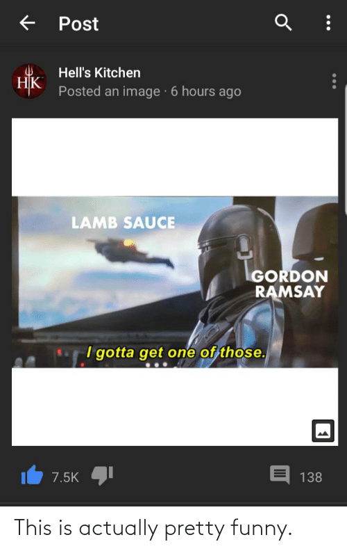 Funny, Gordon Ramsay, and Image: Post  Hell's Kitchen  НК  Posted an image · 6 hours ago  LAMB SAUCE  GORDON  RAMSAY  I gotta get one of those.  7.5K  138 This is actually pretty funny.