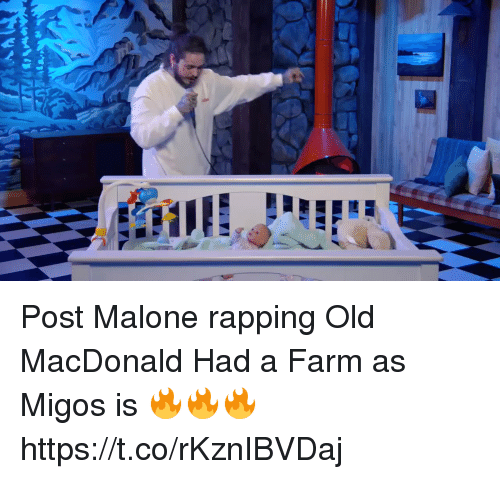 Post Malone Clip Art: Post Malone Rapping Old MacDonald Had A Farm As Migos Is