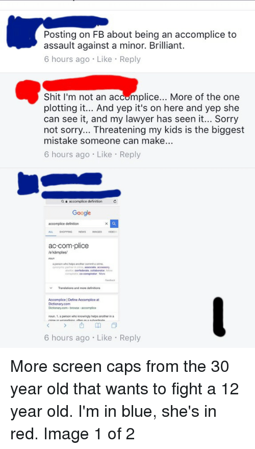 Posting On Fb About Being An Accomplice To Assault Against A Minor