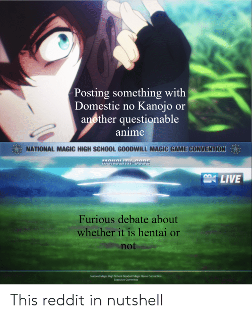 Anime, Hentai, and Reddit: Posting something with  Domestic no  Kanojo or  another questionable  anime  NATIONAL MAGIC HIGH SCHOOL GOODWILL MAGIC GAME CONVENTION  MONCLITH-CODE  LIVE  Furious debate about  whether it is hentai or  not  National Magic High School Goodwill Magic Game Convention  Executive Committee This reddit in nutshell