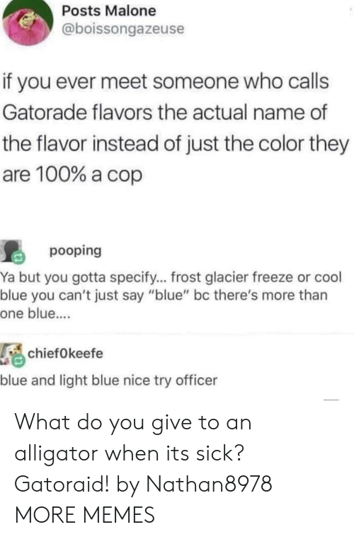 "Anaconda, Dank, and Gatorade: Posts Malone  @boissongazeuse  if you ever meet someone who calls  Gatorade flavors the actual name of  the flavor instead of just the color they  are 100% a cop  pooping  Ya but you gotta specify... frost glacier freeze or cool  blue you can't just say ""blue"" bc there's more than  one blue....  chiefOkeefe  blue and light blue nice try officer What do you give to an alligator when its sick? Gatoraid! by Nathan8978 MORE MEMES"