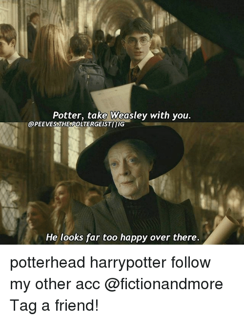 Memes, Happy, and 🤖: Potter, take Weasley with you.  @PEEVES THE POLTERGEISTITIG  He looks far too happy over there. potterhead harrypotter follow my other acc @fictionandmore Tag a friend!