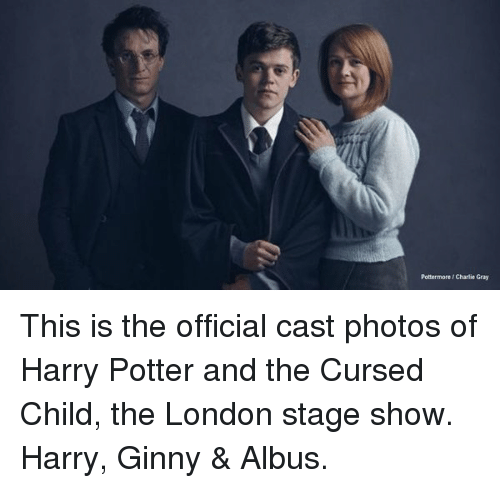 Memes, 🤖, and Cast: Pottermore/Charlie Gray This is the official cast photos of Harry Potter and the Cursed Child, the London stage show. Harry, Ginny & Albus.