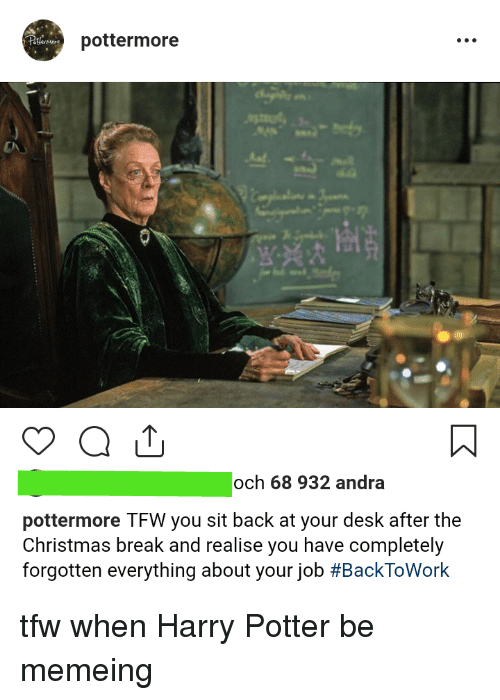 Christmas, Harry Potter, and Tfw: pottermore  och 68 932 andra  pottermore TFW you sit back at your desk after the  Christmas break and realise you have completely  forgotten everything about your job