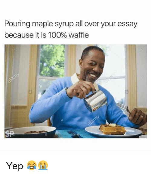 Anaconda, Maple Syrup, and Waffle: Pouring maple syrup all over your essay  because it is 100% waffle Yep 😂😭