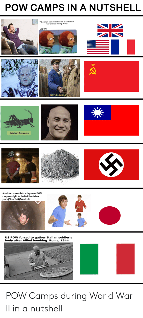 """Soldiers, The Worst, and American: POW CAMPS IN A NUTSHELL  """"German committed some of the worst  war crimes during WW2""""  Japan:  ancontetiork  I serve the Soviet Union  Cricket Sounds  MrMeowers95  NICK  American prisoner held in Japanese P.O.W  camp sees light for the first time in two  years (Circa 1945)(Colorized)  US POW forced to gather Italian soldier's  body after Allied bombing. Rome, 1944  3RF  23RF  DI23RF  O2SRF POW Camps during World War II in a nutshell"""