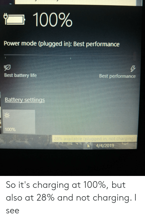 Anaconda, Life, and Best: Power mode (plugged in): Best performance  50  Best battery life  Best performance  Battery settings  00%  4/4/2019 So it's charging at 100%, but also at 28% and not charging. I see