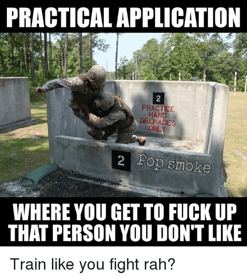 Memes, Fuck, and Train: PRACTICAL APPLICATION  PRACTICIE  HAND  GRENADES  ONLY  2 Fop smoke  WHERE YOU GET TO FUCK UP  THAT PERSON YOU DON'T LIKE Train like you fight rah?