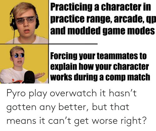 Game, Match, and Pyro: Practicing a character in  practice range, arcade, qp  and modded game modes  Forcing your teammates to  explain how your character  works during a comp match Pyro play overwatch it hasn't gotten any better, but that means it can't get worse right?