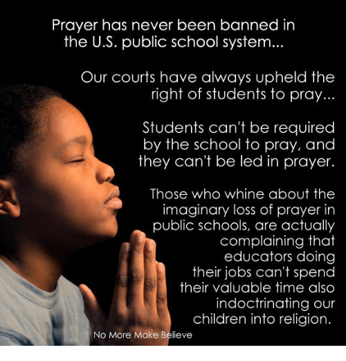 the issue of prayer in public school Prayer in schools is a touchy subject, putting parents, teachers and administrators at odds however, attending a school that's at odds with your kid's religious beliefs can be an eye-opening experience for her, with a wealth of benefits.