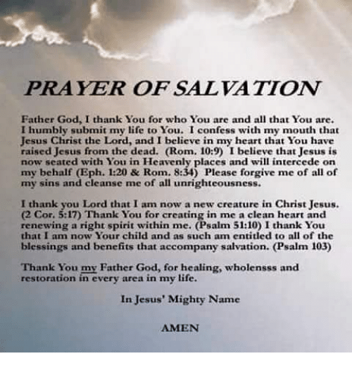 PRAYER OF SALVATION Father God I Thank You for Who You Are