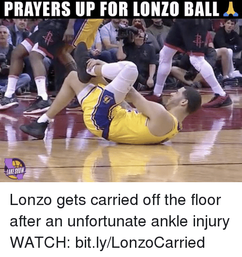 Nba, Watch, and Show: PRAYERS UP FOR LONZO BALLA  KE SHOW Lonzo gets carried off the floor after an unfortunate ankle injury  WATCH: bit.ly/LonzoCarried