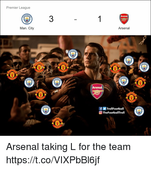 Arsenal, Memes, and Premier League: Premier League  CHES  3  CITY  Arsenal  Man. City  CHES  CHES  CITY  CHES  HE  HES  CITY  HES  CITY  NITE  CHEs  CHES  WITE  CHES  CITY  WITE  Arsenal  CITY  CITY  CHES  HES  NITE  NITE  CHES  fTrollFootball  TheFootballTroll  CHES  CITY  CITY Arsenal taking L for the team https://t.co/VIXPbBl6jf