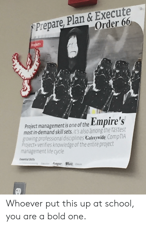 Empire, Life, and School: Prepare, Plan Execute .  Order 66  Project managementis one of the Empire 's  most in-demand skill sets, it's also among the fastest  growing professional disciplines Galaxywide CompTIA  Project+ verifies knowledge of the entire project  management life cycle  Essential Skils  Anger Hate Whoever put this up at school, you are a bold one.