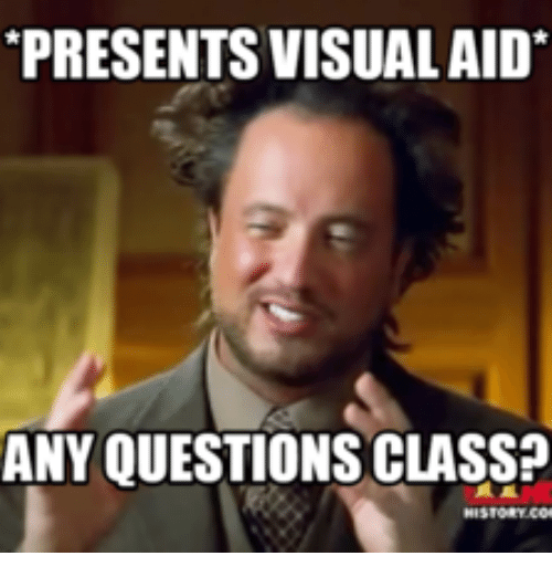 presents visualaid any questions class 16058182 any questions or comments?? i have additional questions meme on me me