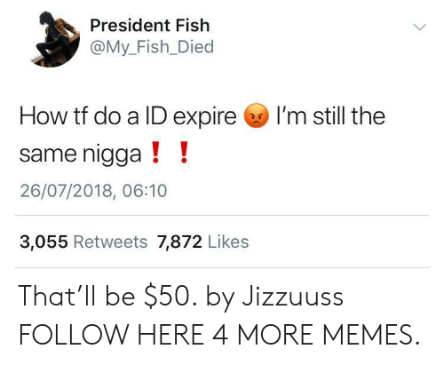 Dank, Memes, and Target: President Fish  @My_Fish_Died  How tf do a ID expire I'm still the  same nigga!!  26/07/2018, 06:10  3,055 Retweets 7,872 Likes That'll be $50. by Jizzuuss FOLLOW HERE 4 MORE MEMES.