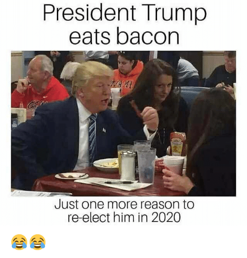 Memes, Trump, and Reason: President Trump  eats bacon  Just one more reason to  re-elect him in 2020 😂😂