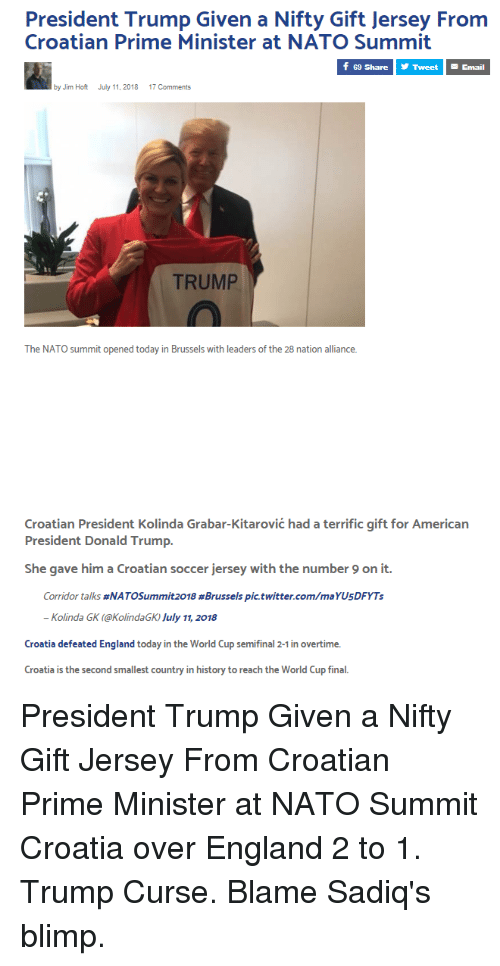 President Trump Given a Nifty Gift Jersey From Croatian