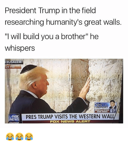 """Memes, News, and Fox News: President Trump in the field  researching humanity's great walls.  """"I will build you a brother"""" he  whispers  RUSALEM  :24 PM  SPECIAL  REPORT  from RIYADH  SAUDI ARABIA  PRES TRUMP VISITS THE WESTERN WAL  EWS  FOX NEWS ALERT 😂😂😂"""
