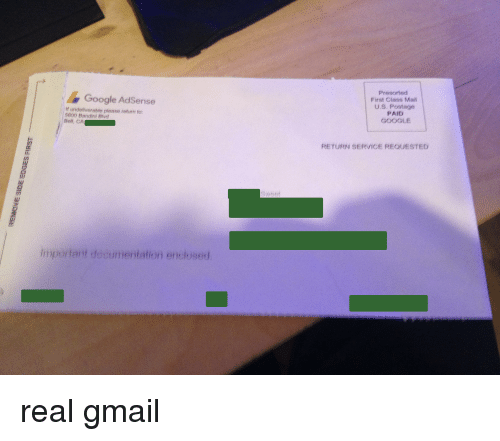 Google, Gmail, and Mail: Presorted First Class Mail U.S. Postage PAID GOOGLE Google