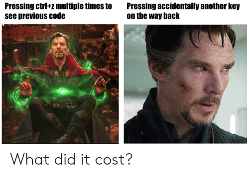 Back, Another, and Code: Pressing ctrl+z multiple times toPressing accidentally another key  see previous code  on the way back What did it cost?