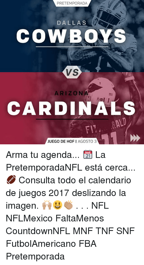 Nfl Calendario.Pretemporada Dallas Cowboys Vs Arizona Cardinals Juego De