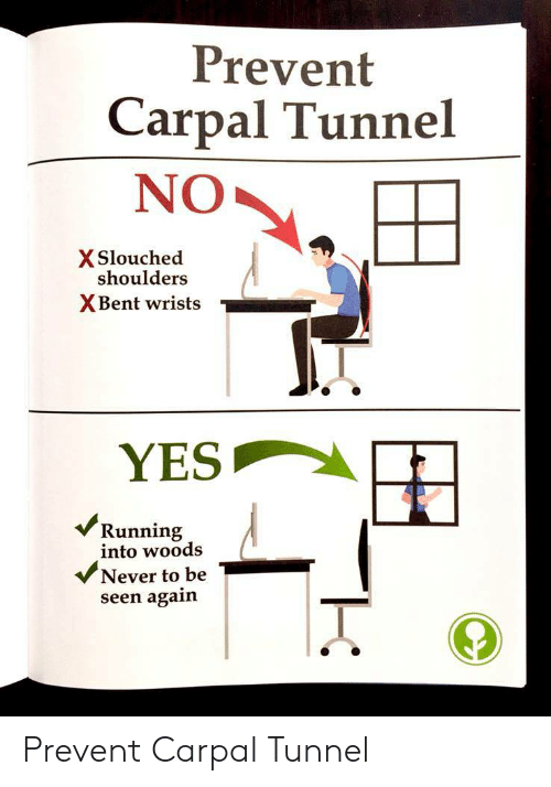 Never, Running, and Yes: Prevent  Carpal Tunnel  NO  X Slouched  shoulders  XBent wrists  YES  vV/Running  into woods  Never to be  seen again Prevent Carpal Tunnel