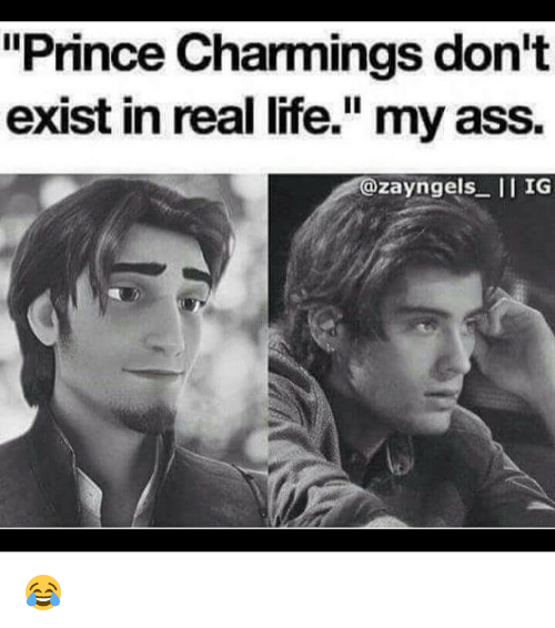 "Memes, Prince, and Charming: ""Prince Charmings don't  exist in real life."" my ass.  zayngels II IG 😂"