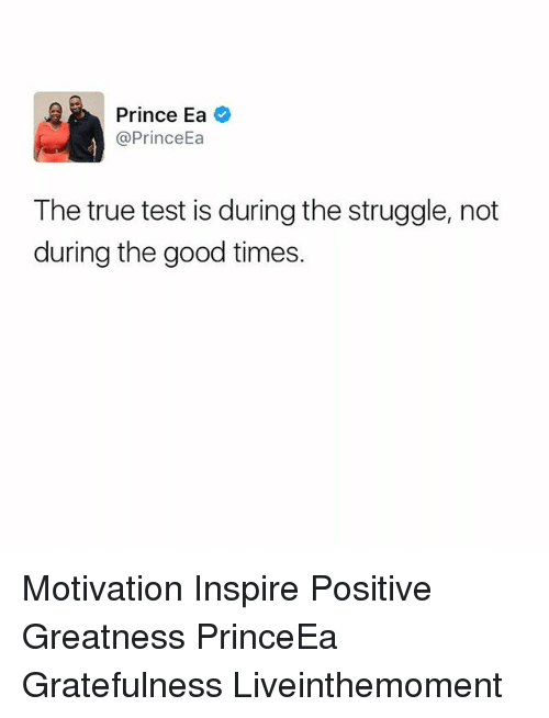 Memes, Prince, and Struggle: Prince Ea  @Prince  The true test is during the struggle, not  during the good times. Motivation Inspire Positive Greatness PrinceEa Gratefulness Liveinthemoment