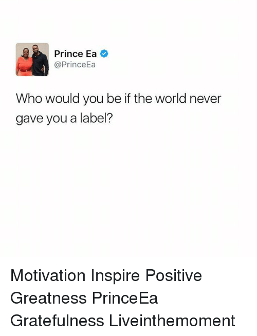 Memes, Prince, and World: Prince Ea  Prince  Who would you be if the world never  gave you a label? Motivation Inspire Positive Greatness PrinceEa Gratefulness Liveinthemoment