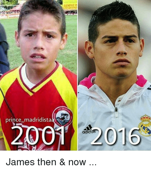 Memes, Prince, and 🤖: prince madridista  2001  22016 James then & now ...