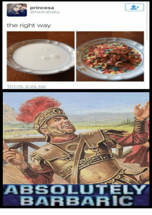 25 best memes about no more soggy cereal no more soggy barbaric princesa and no more soggy cereal princesa g he dra baby the right way 11a 115 6325 am aa bscolutely barbaric ccuart Gallery