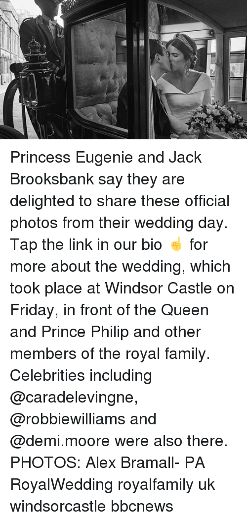 Family, Friday, and Memes: Princess Eugenie and Jack Brooksbank say they are delighted to share these official photos from their wedding day. Tap the link in our bio ☝️ for more about the wedding, which took place at Windsor Castle on Friday, in front of the Queen and Prince Philip and other members of the royal family. Celebrities including @caradelevingne, @robbiewilliams and @demi.moore were also there. PHOTOS: Alex Bramall- PA RoyalWedding royalfamily uk windsorcastle bbcnews