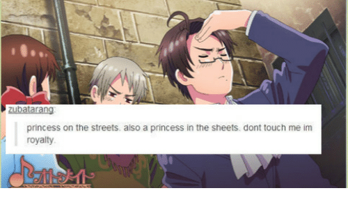 Streets, Princess, and Touch: princess on the streets. also a princess in the sheets. dont touch me im  royalty